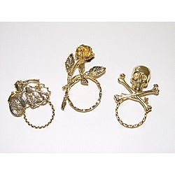 Detti Originals SPEC Motorcycle/ Skull and Rose 3-piece Two-tone Spectacle Brooch Set