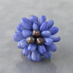 Blue Mother of Pearl Chrysanthemum Leather Ring (Thailand)