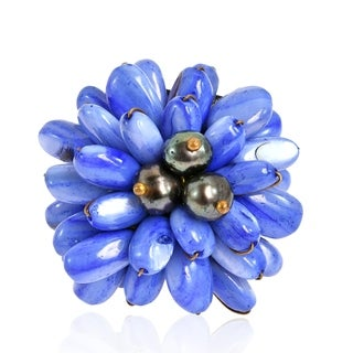 Handmade Blue Mother of Pearl Chrysanthemum Leather Ring (Thailand)