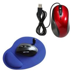 INSTEN Red/ Black USB Optical Scroll Mouse/ Wrist Comfort Mousepad