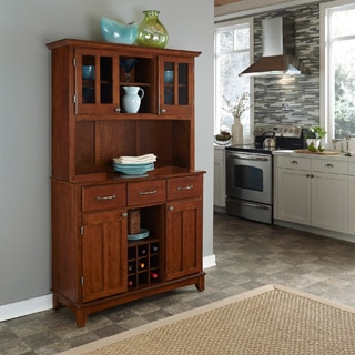 Home Styles Medium Cherry Hutch Buffet with Wood Top