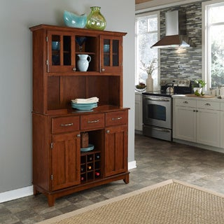 Medium Cherry Hutch Buffet with Wood Top by Home Styles