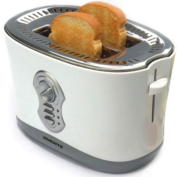 Ovente 2250W White 2-slice Toaster