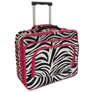 World Traveler Zebra Print Polyester Rolling Laptop Tote