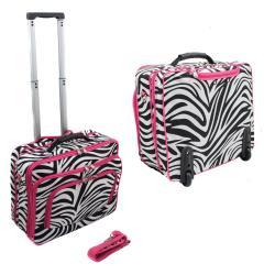 World Traveler Zebra Print Polyester Rolling Laptop Tote (Option: Zebra with Pink Trim)