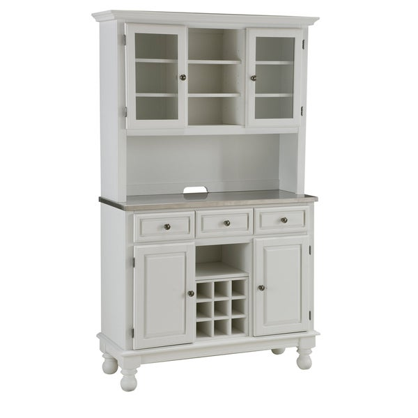 White Kitchen Hutch Buffet: Premium White Hutch Buffet With Stainless Top