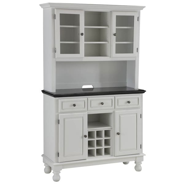 White Kitchen Buffet: Premium White Buffet With Granite Top And Hutch