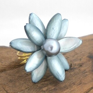 Handmade Grey Mother of Pearl Water Lily Ring (Thailand)