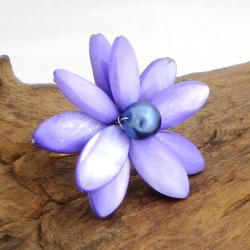 Handmade Purple Mother of Pearl Water Lily Ring (10 mm)(Thailand)