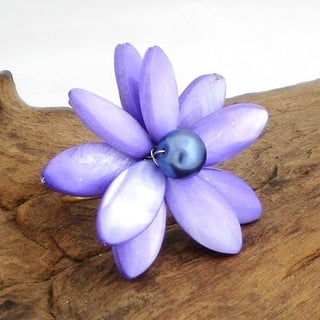 Handmade Purple Mother of Pearl Water Lily Ring (Thailand)