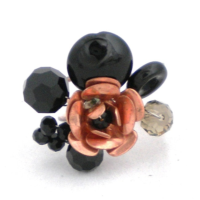 Onyx and Crystal Copper Rose Ring (Thailand)