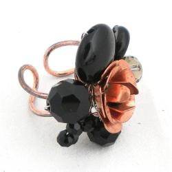 Onyx and Crystal Copper Rose Ring (Thailand) - Thumbnail 1