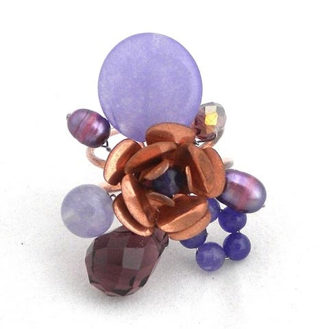 Handmade Stunning Copper Rose with Purple Stones and Pearls Statement Ring (Thailand)