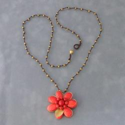 Brass Red Coral Cotton Rope Floral Necklace (Thailand)