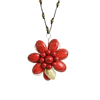 Handmade Brass Floral Essence Synthetic Coral Cotton Rope Necklace (Thailand)