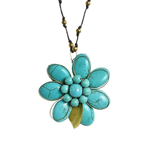 Handmade Brass Bells Floral Essence Blue Turquoise Stone Cotton Rope Necklace (Thailand)