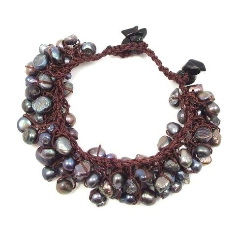 Handmade Round Freshwater Pearl Cluster Cotton Rope Bracelet (Thailand)