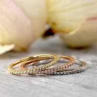 10k Gold 1/10ct TDW Petite Ultra-Thin Stackable Diamond Wedding Band by Auriya