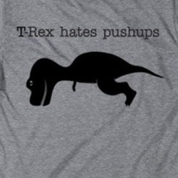 Men's 'T-Rex Hates Pushups' Cotton T-shirt - Thumbnail 2