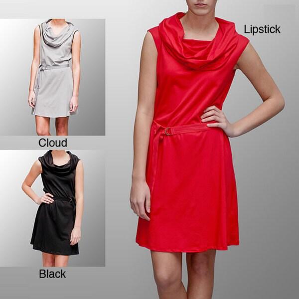 A to Z Women's Cowlneck Belted Knee-lenth Dress