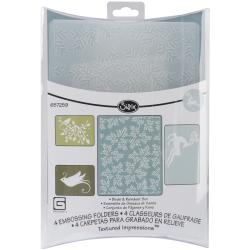 Sizzix Textured Impressions Figgy Pudding Birds/Reindeer Embossing Folders (Pack of 4)