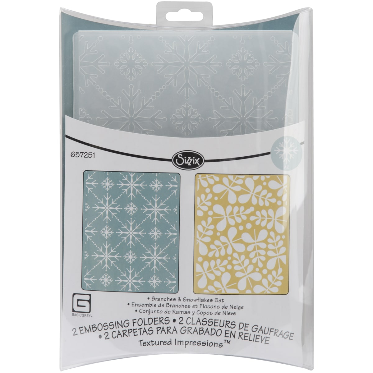 Sizzix Textured Figgy Pudding Branches/ Snowflakes Impressions Embossing Folders