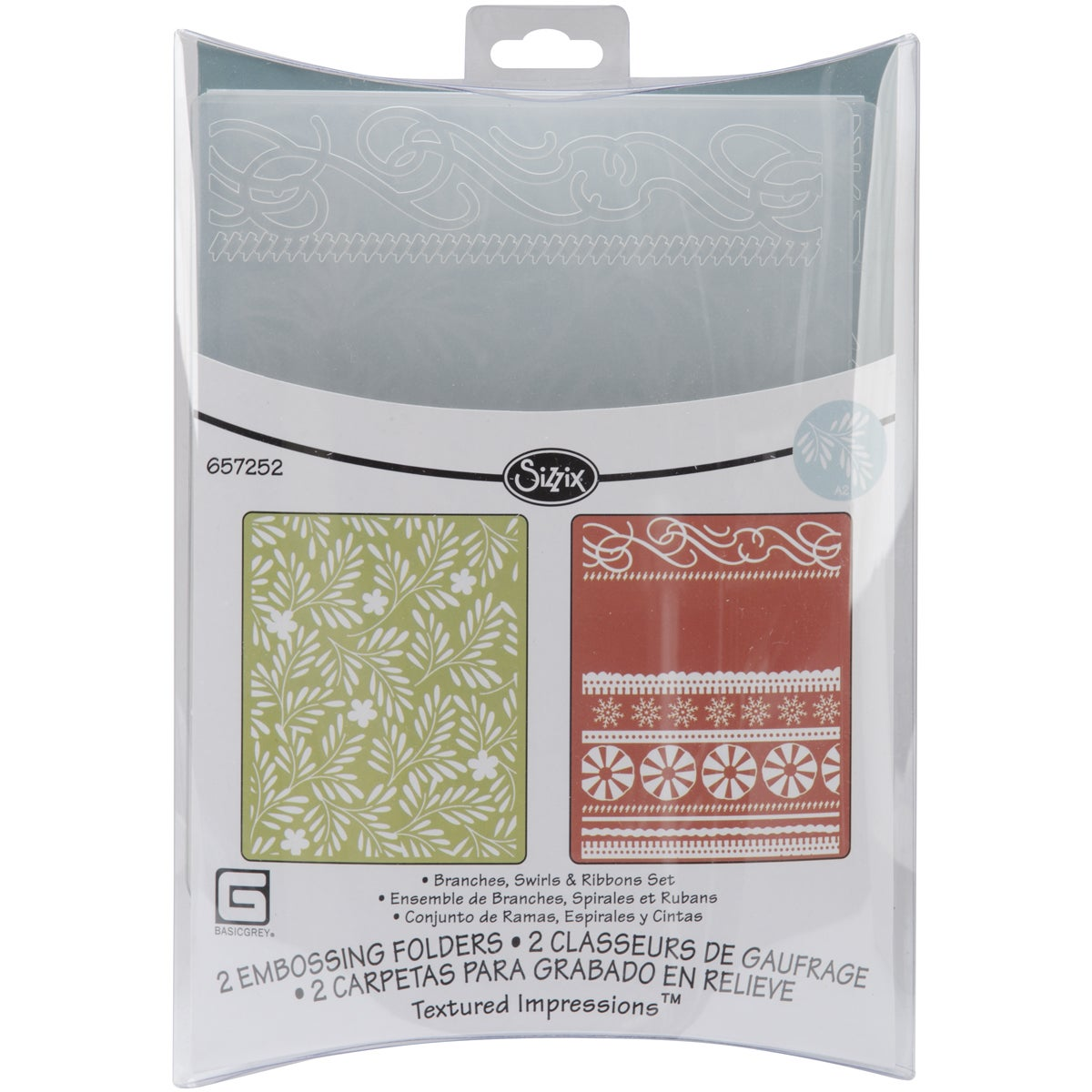 Sizzix Textured Figgy Pudding Branches/ Swirls and Ribbons Impressions Embossing Folders