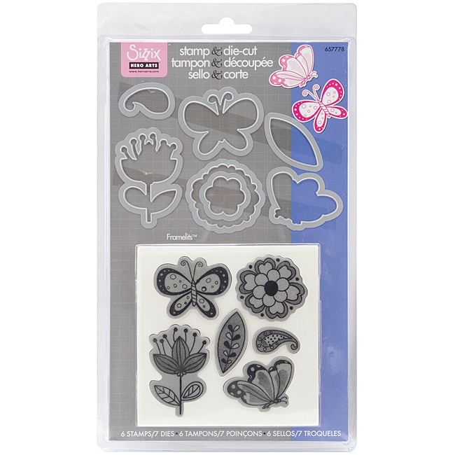 Sizzix Framelits 'Flowers and Butterflies' Dies with Clear Stamps (Pack of 7)