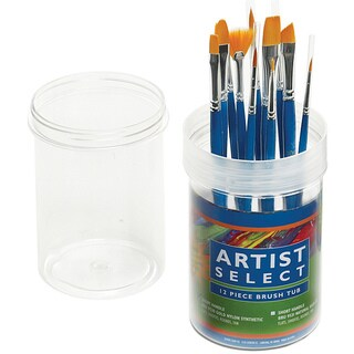 Pro-Art Artist Select Short Handle Synthetic Brush Tub (12 Piece)