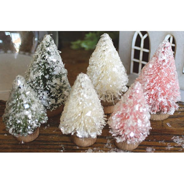 Mini Bottle Brush Christmas Trees (Pack of 6)