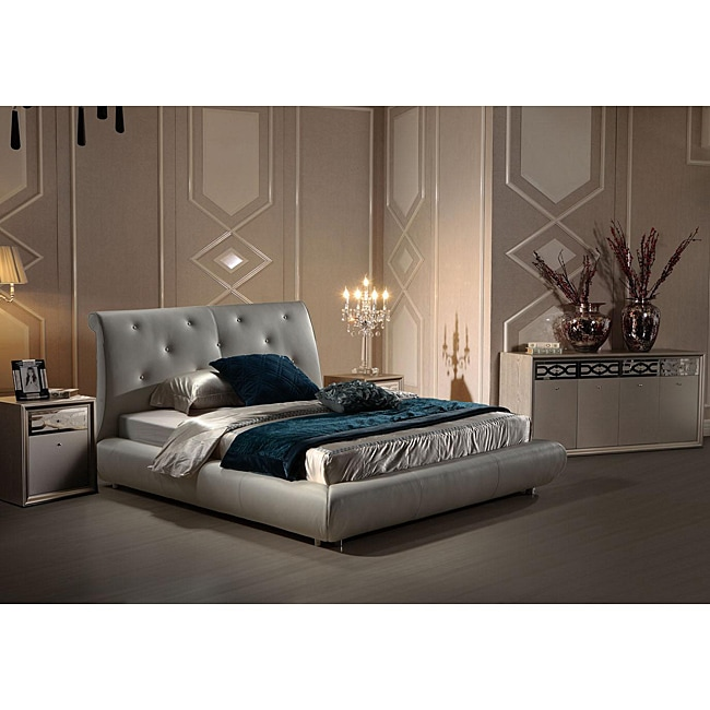 Glamour Queen-size White Leather Bed