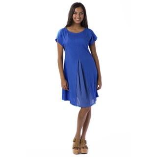 AtoZ Women's Cotton Viol Pleated Mod Dress