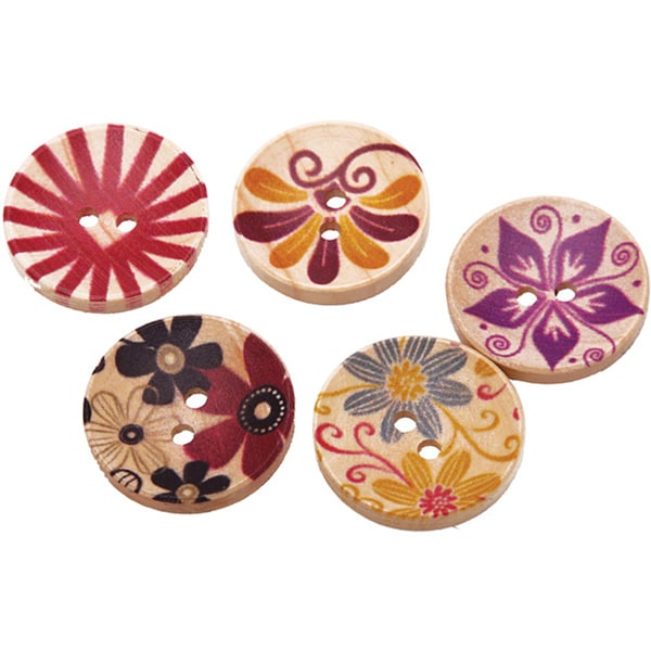 Hand-painted Wooden Buttons (Case of 100)