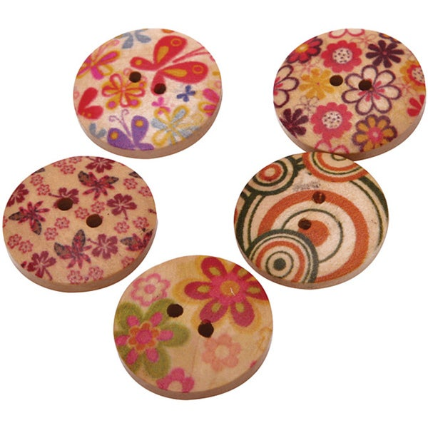 Hand Painted Wooden Buttons (Pack of 150)