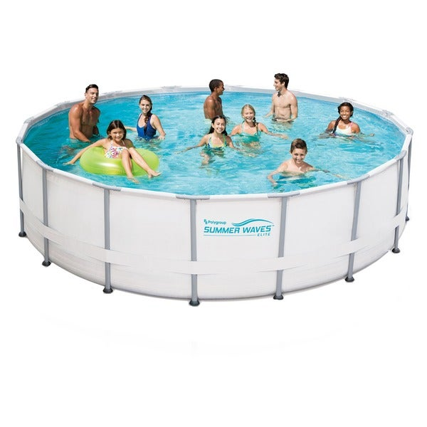 Shop 15 ft. Round 48-inch Deep Metal Frame Swimming Pool Package ...