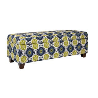 Handy Living Kent Retro Blue-Green Geometric Burst Wall Hugger Trunk Storage Ottoman