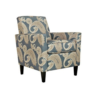 Handy Living Sutton Feathered Paisley French Blue Arm Chair