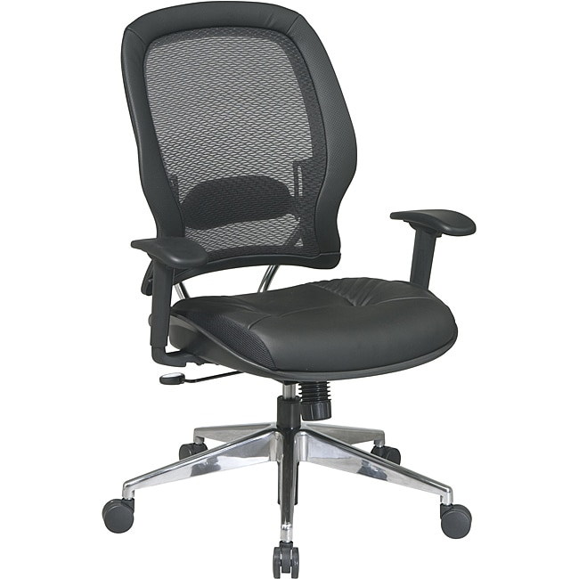 Professional Air Grid Back Chair with Leather Seat