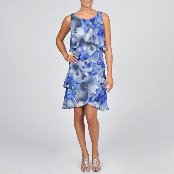 Shop Sl Fashions Womens Plus Size Watercolor Chiffon Tiered Dress