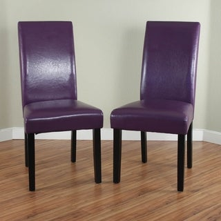Villa Faux Leather Boysenberry Dining Chairs (Set of 2)
