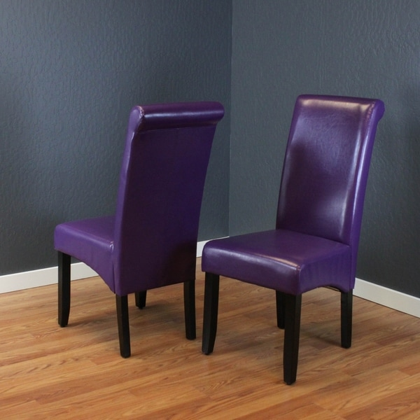 Milan Faux Leather Boysenberry Dining Chairs (Set of 2)