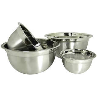 Prime Pacific Stainless Steel Euro Style German Deep Mixing Bowls (Set of 4)