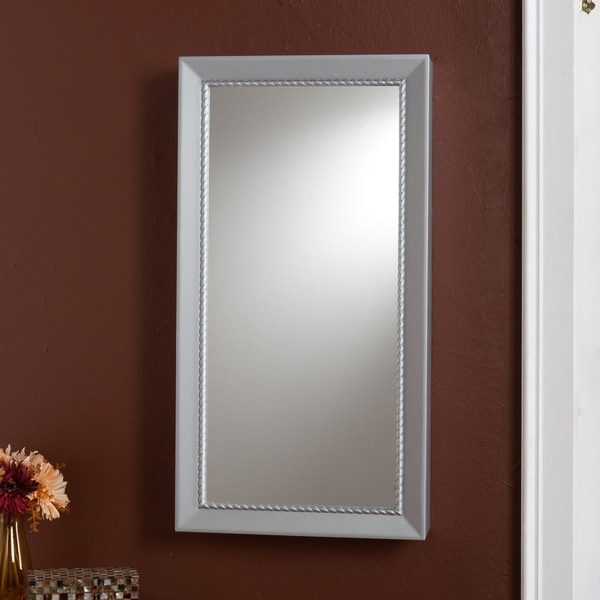Upton Home Serenity Wall-mount Silver Finish Jewelry Storage Mirror