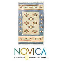 Indo Handcrafted Wool 'Diamond Star' Area Rug 5 x 8 Feet (India) - Thumbnail 1