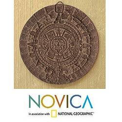Ceramic 'Aztec Calendar in Grey' Plaque (Mexico)