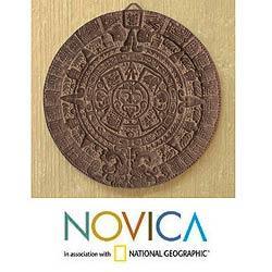 Handmade Ceramic 'Aztec Calendar in Grey' Plaque (Mexico)