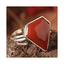Sterling Silver 'Andean Warmth' Jasper Ring (Peru)