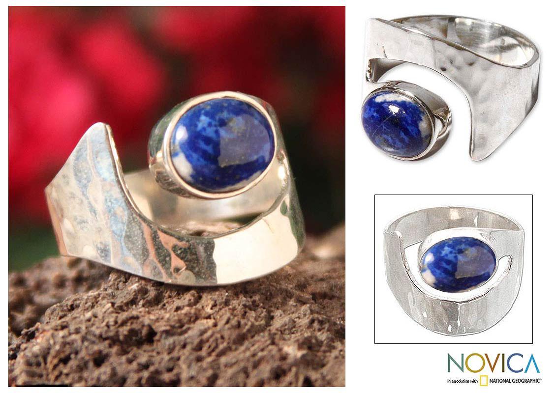 Handmade Sterling Silver 'Balance' Lapis Lazuli Ring (Peru)