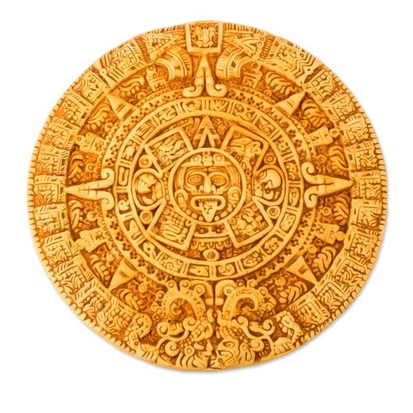 Handmade Ceramic 'Aztec Calendar in Tan' Plaque (Mexico)
