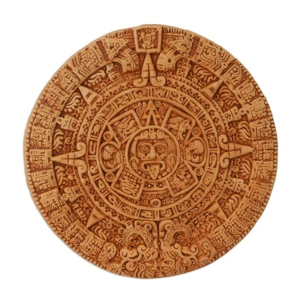 Handmade Ceramic 'Aztec Calendar in Tan' Plaque (Mexico). Opens flyout.